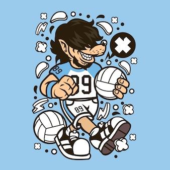 Wolf volley ball cartoon