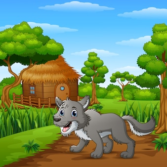Wolf in the way of countryside