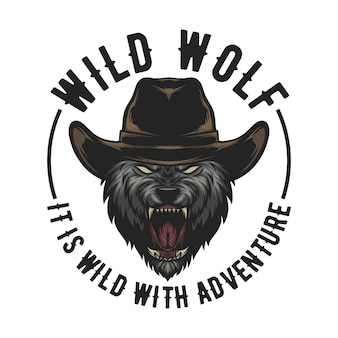 Wolf wear a cowboy heat in , easy to change text and ready to use for any need