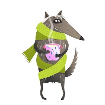 お茶を飲むスカーフを身に着けているオオカミ
