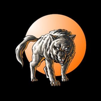 Иллюстрация диких животных волка