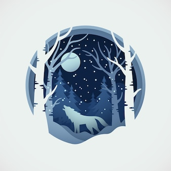 Wolf wildlife with paper cut style of winter