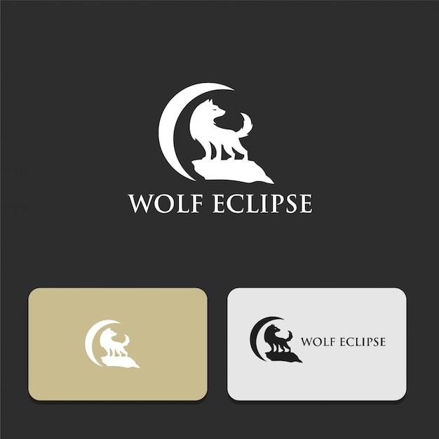 日食のシルエットのロゴデザインのオオカミ