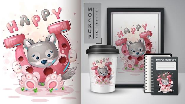 Wolf with horseshoe  cute cartoon animal character vector eps 10