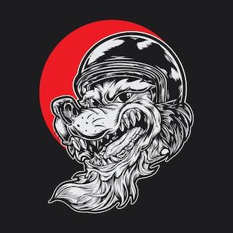 Волк с мотоциклетным шлемом