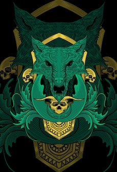 Wolf with ornament artwork illustration