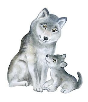 オオカミオオカミママと白い背景で隔離の赤ちゃん森の動物漫画水彩画