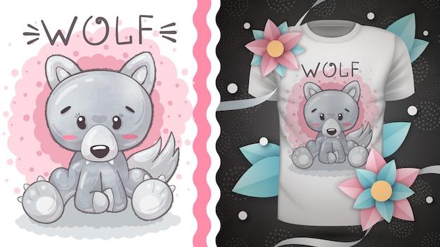 Wolf woof - идея для футболки с принтом