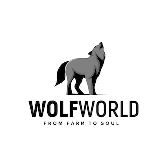オオカミの世界の動物のロゴのインスピレーションベクトルの概念