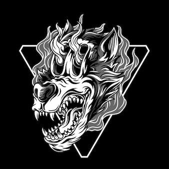 Wolfie the unstoppable black & white illustration