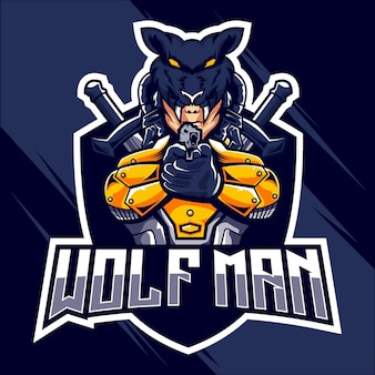Wolfman esports дизайн логотипа дизайн логотипа