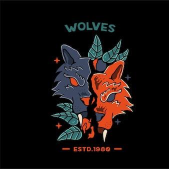 Tシャツとタトゥーのスカルオレンジイラストと狼