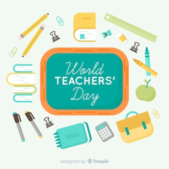 Wolrd teacher's day composition with flat design