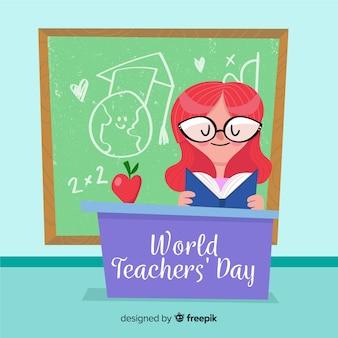 フラットデザインの教師の日の構成