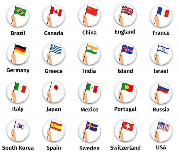 Wolrd флаги установлены в руке