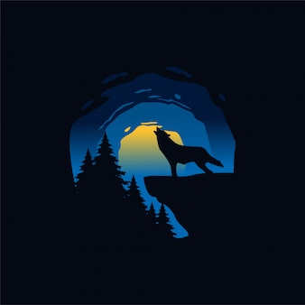 夜のシルエットイラストでオオカミ