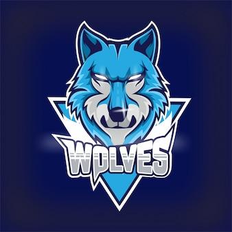オオカミのeスポーツチームのマスコットロゴ