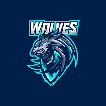 オオカミのeスポーツゲームのマスコットのロゴのテンプレート