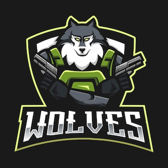 Wolves esport mascot logo design with modern illustration concept style for badge, emblem and t-shirt printing. angry wolf illustration for sport team
