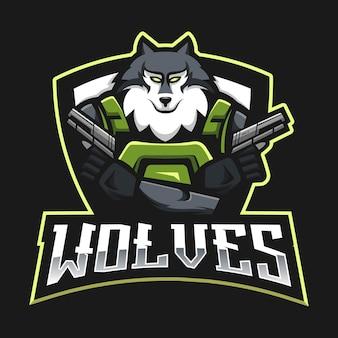 オオカミは、バッジ、エンブレム、tシャツの印刷用のモダンなイラストコンセプトスタイルのマスコットロゴデザインをeスポーツします。スポーツチームの怒っているオオカミのイラスト