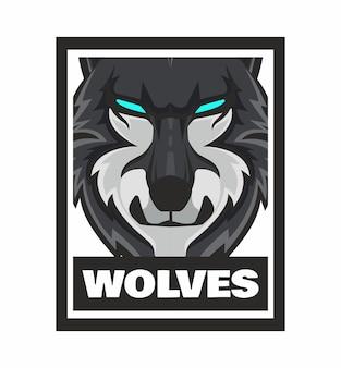 分離されたオオカミの顔デザインフレームイラスト