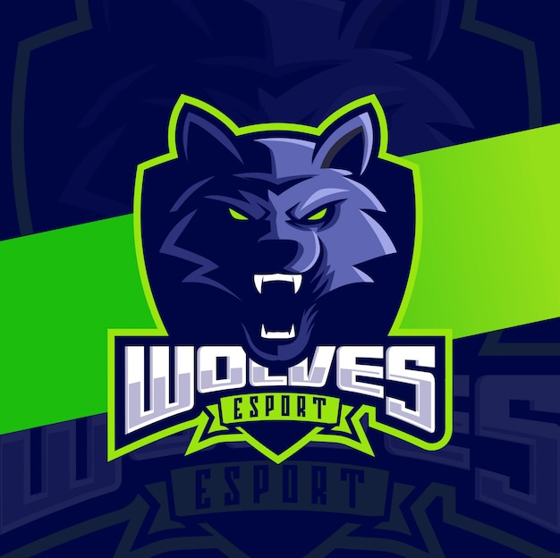 Wolves head mascot esport logo design