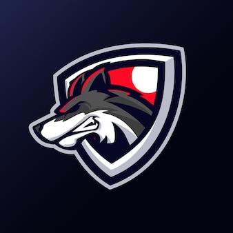 オオカミの頭のマスコットロゴ