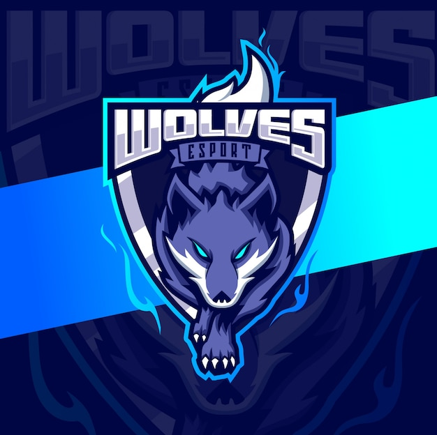 Wolves mascot esport logo design