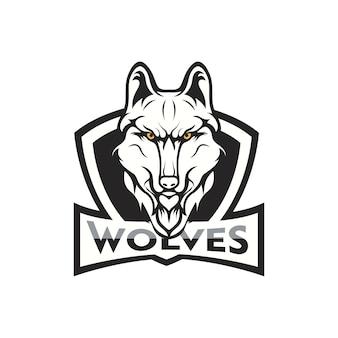 늑대 마스코트 로고 머리 스포츠 팀 그림
