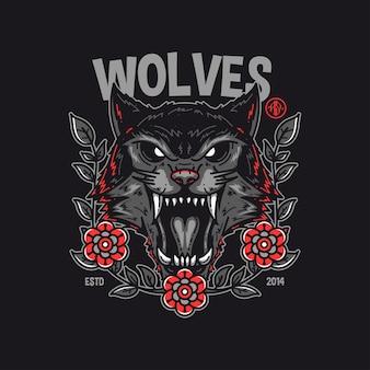 Дизайн футболки с волками