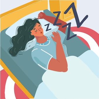 Womain sleeping in bed