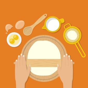 Женские руки замешивают тесто на столе