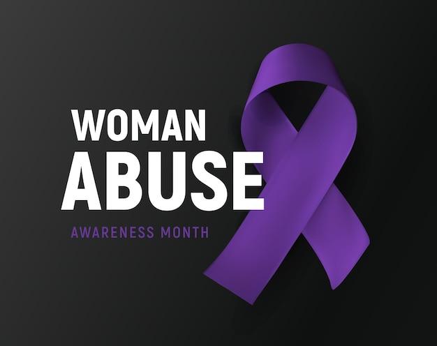 女性虐待バイオレットリボン家庭内暴力意識シンボルベクトルイラスト