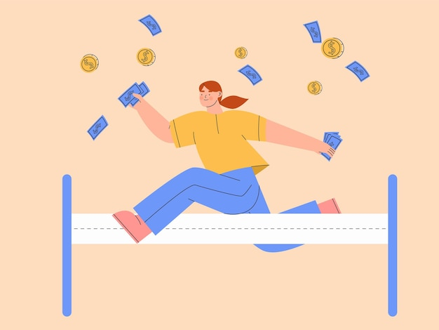 Woman achieve her financial freedom illustration