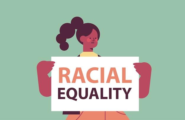 Woman activist holding stop racism poster racial equality social justice stop discrimination portrait