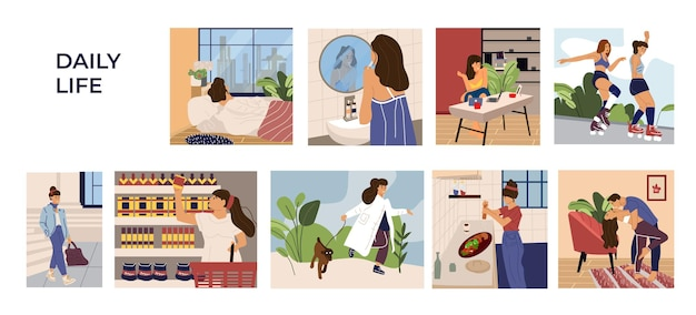Сцены деятельности женщины. мультфильм рисованной молодая девушка характер досуг, работа и распорядок. векторная иллюстрация