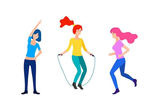 여성 활동. 스포츠, 달리기, 조깅, 줄넘기, 피트니스를 하는 여성 세트. 스포츠 여성 벡터 평면 그림 다른 포즈에서 흰색 배경에 고립. 밝은 색