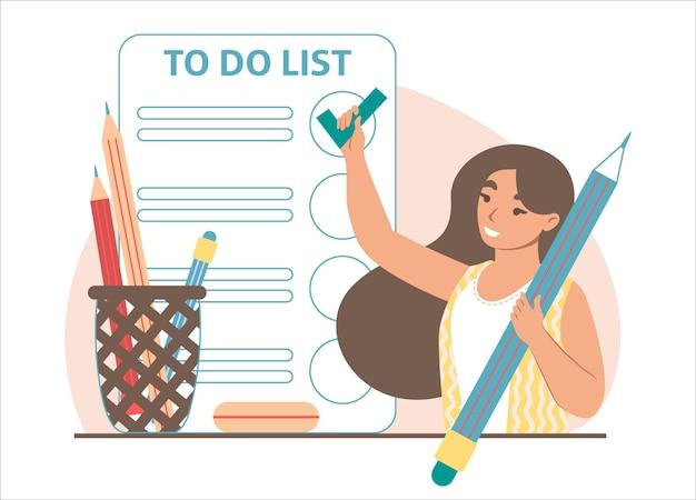 스마트폰 화면, 벡터 일러스트레이션에서 목록을 확인하기 위해 체크 표시를 추가하는 여자. 작업 관리, 계획, 일정.