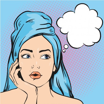 Woman after a shower thinking about something.  illustration in pop art comic style