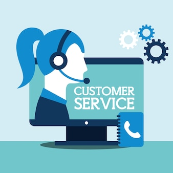 Woman agent computer contacts book support customer service