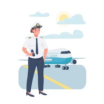 女性飛行機パイロットフラットカラー詳細キャラクター。職場でのジェンダーバランス。航空業界で働く女性は、webグラフィックデザインとアニメーションの漫画イラストを分離しました