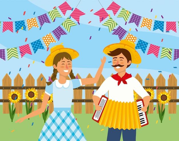 女性アコーディオンとパーティーのバナーを持つ男