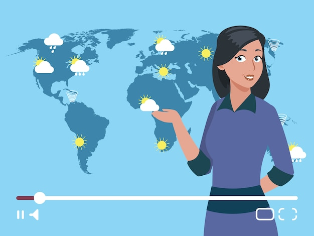 Woman anchorman weather channel vector illustration.