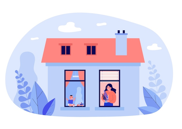 이웃 아파트의 창문에있는 여자와 아기