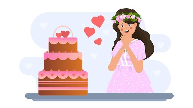 Женщина и торт на валентина иллюстрации