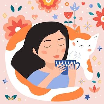 Женщина и кошка пьют чай Premium векторы