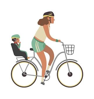 自転車で女性と子供。赤ちゃん乗馬ベクトル家族旅行活動illustratonを持つ若い幸せな母親