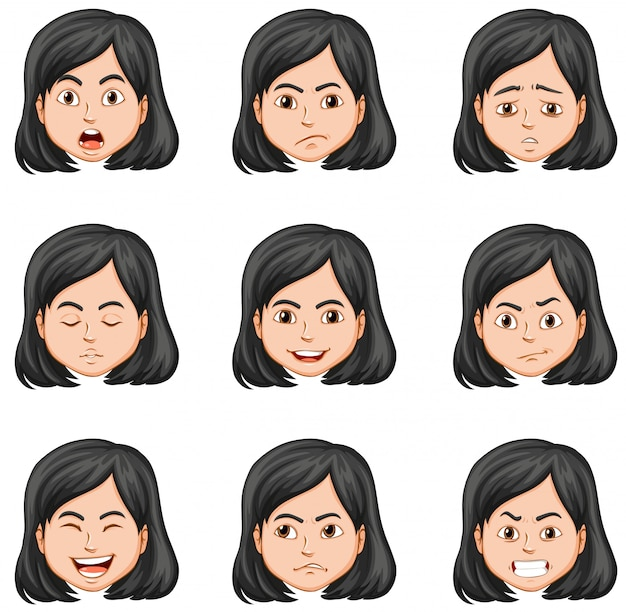 Женщина и разные выражения лица