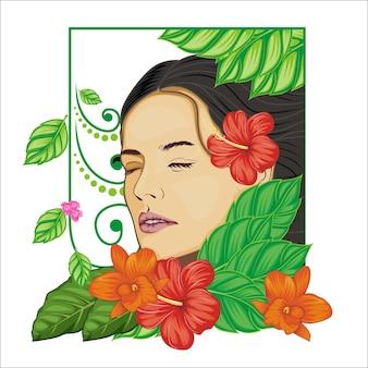 女性と花のイラスト