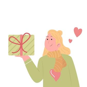 Женщина и подарки на рождество